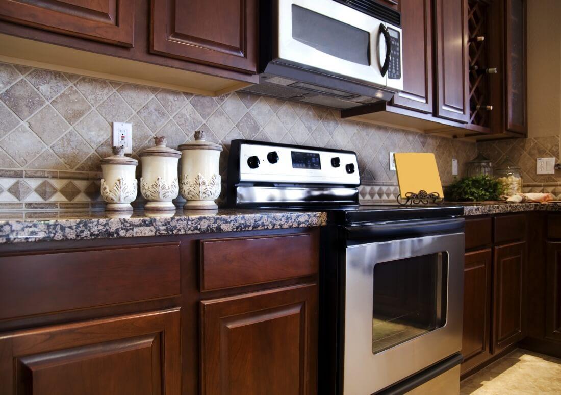 Kitchen Backsplash Dark Wood Cabinets backsplash gallery | denver | stone city